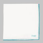 Drake's - Linen Shoestring Pocket Square white/teal