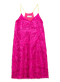 LUCKY dress - magenta fringe lamé