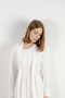 MOLI DRAPED JERSEY LONG SLEEVE TOP - OFF WHITE