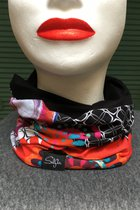 Women Beanies & Scarves SD80009- Beanie or scarf - 2in1 coloured patterned/black