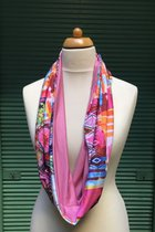 Women Loop Scarf SD41022PYB pink-blue-yellow/ rose tint