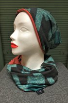 Women Beanies & Scarves SD6019TGP - Turquoise-green patterned/brick red
