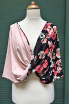 Shawl SD3022BPF - burgundy-pink flowered on black base/rose