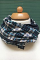 Kids Loop Scarves SD4316WBGC - white-blue-grey checked/dark blue