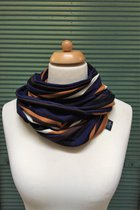 Man Loop Scarf SD4216DBOS - dark blue-black-ochre striped/dark blue