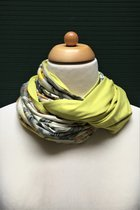 Women Loop Scarf SD41023AYFK - Autumn yellow flowered knitted/yellow