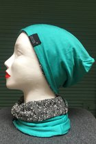 Women Beanies & Scarves SD60 031BWGB - black-white-grey boucle/turquoise - with smaller scarf