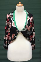 Shawl SD3032BPF - burgundy-pink flowered on black base/grass green