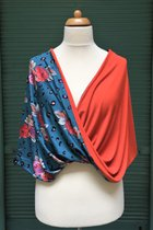 Shawl SD3006RPB - rose pattern on blue base/orange