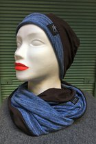 Women Beanies & Scarves SD6009DTK-Blue Tabby Knitted/black