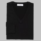 Gran Sasso - Regular fit Merino wool V-neck sweater black