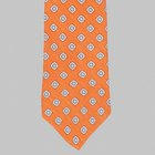 Drake's - Silk/Linen Chevronne Printed mirror motif Tie orange