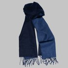 Begg & Co - Langley Lambswool angora scarf navy/denim