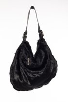 BUBBLE BAG Black fake fur