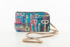 CLUTCH WITH STRAP Multicolour keys printed